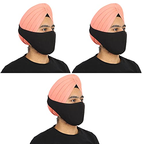 BISMAADH Reusable Cotton Hosiery Pagri Mask For Men Black Pack of 3