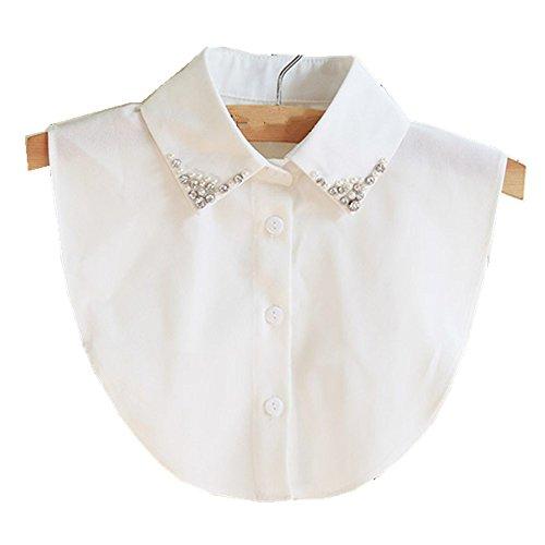 Hanmorla Frauen Kragen Abnehmbare Hälfte Shirt Bluse mit Strass Weiß