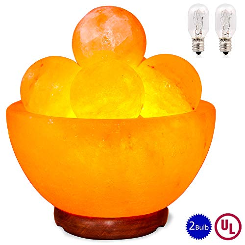 pursalt Himalayan Massage Salt Lamp Bowl with 5 Massage Balls Hand Carved Taly Wood Base Pink...