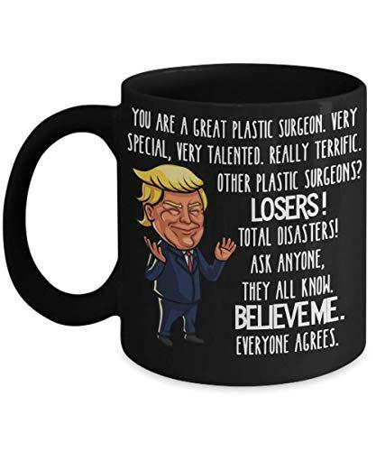 N\A Taza de Cirujano plástico de Trump Regalo de Agradecimiento para cirujanos plásticos Regalos para Hombres y Mujeres Tazas de café Negro de Trump Divertido Taza de té
