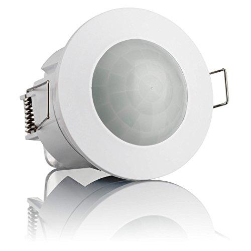 SEBSON® Bewegungsmelder Innen, Unterputz Decken Montage, programmierbar, Infrarot Sensor, Reichweite 6m / 360°, Einbau Bewegungssensor LED geeignet