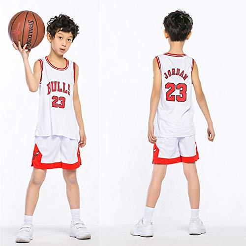 DDOYY Camiseta De Baloncesto Michael Jordan # 23 Bulls Juego De Baloncesto Sin Mangas Para Niños Traje De Entrenamiento Al Aire Libre Fitness 3XS-2XL-White-S