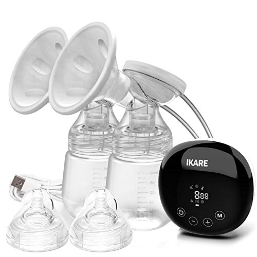 IKARE Double Breast Pumps Electric - Rechargeable Milk Pump with 5 Modes & 41 Levels - Quiet Portable Breastfeeding Pump for Travel & Home