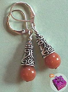 Peach Aventurine Silver Crystal Earring Sp Leverback Handcrafted Rhinestone Earrings For Women Set + Gift Box For Free