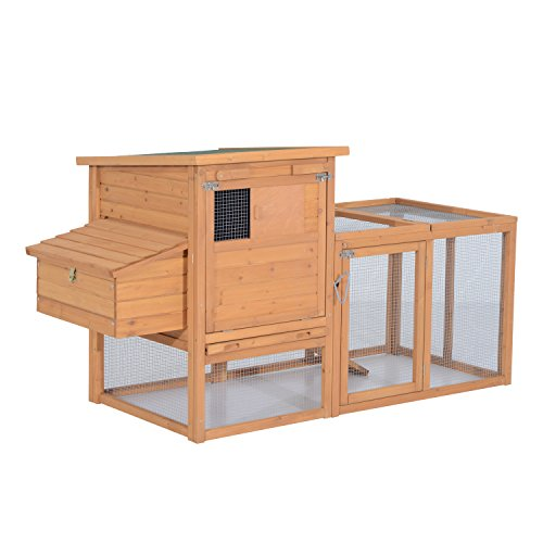 PawHut 75' Wooden Hen House Backyard Chicken Coop with Outdoor Run and Nesting Box