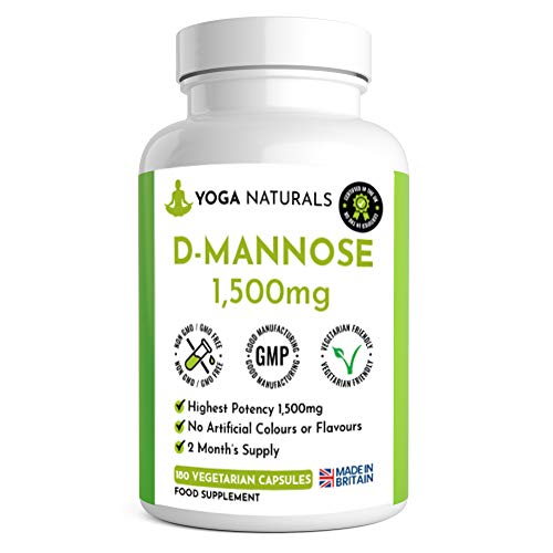 D-Mannose 2 Month's Supply 180 Capsules - Cystitis UTI Natural Relief – Vegetarian Capsules Not Nasty Tablets or Pills – Superior Max Strength 1500mg Precision D-Mannose Made in the UK