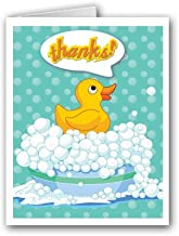 Cute Rubber Ducky Thank You Note Card - 10 Boxed Cards & Envelopes