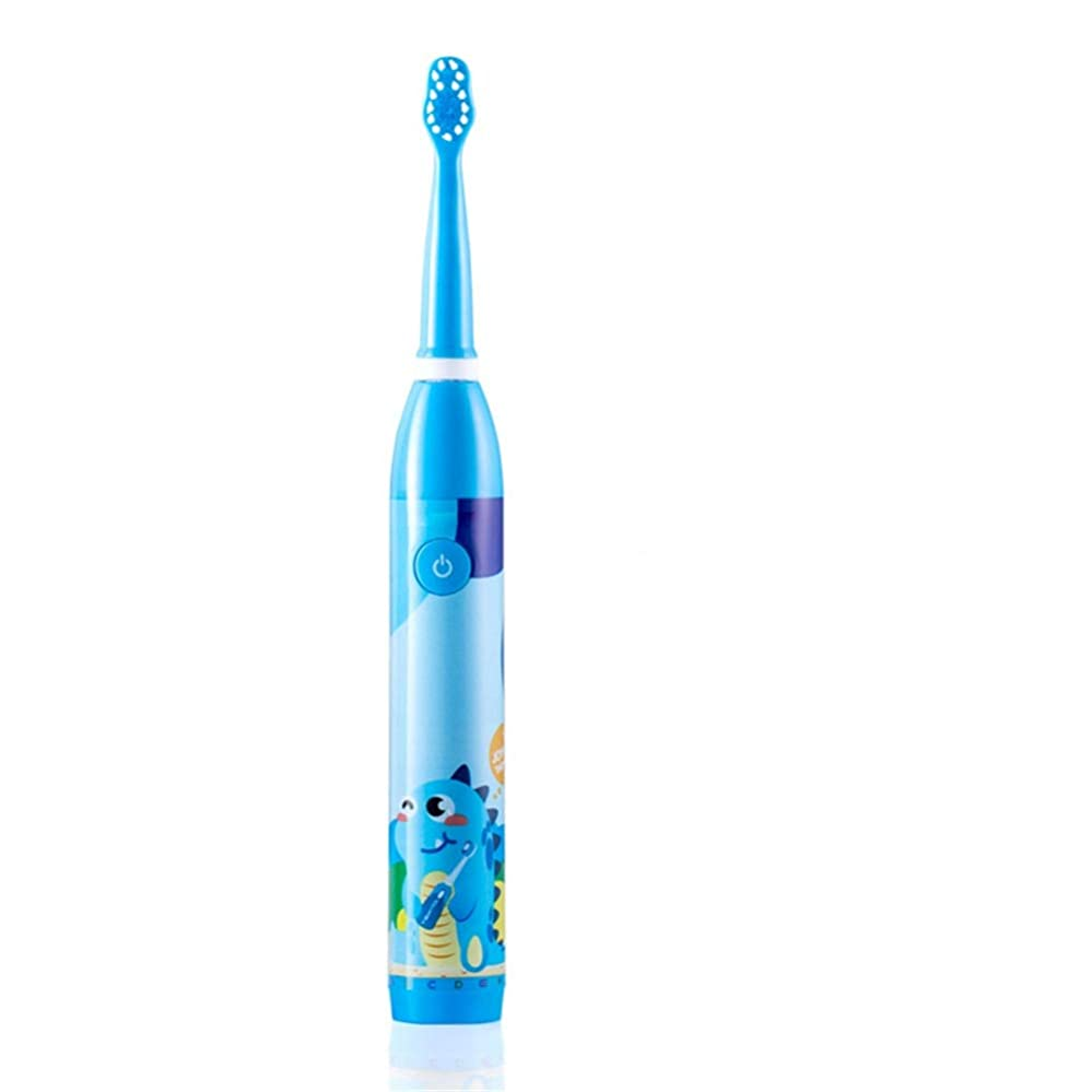 ピルファーあえぎコメンテーター電動歯ブラシ 子供のための適切な子供の電動歯ブラシUSB充電式防水保護ホワイトニング6-12 (色 : 青, サイズ : Free size)