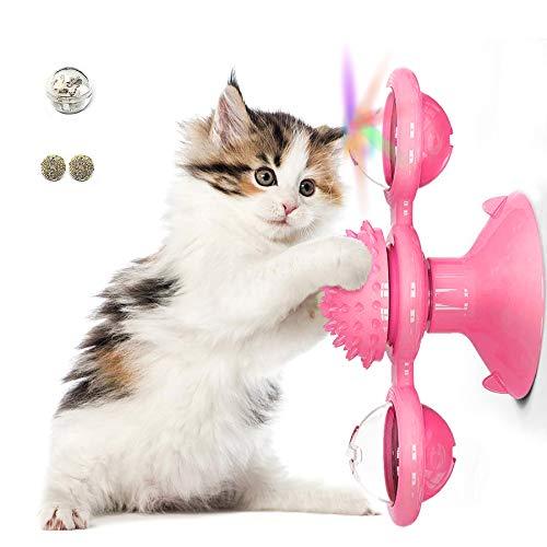 TaimeiMao Windmühle Katzenspielzeug, Plattenspieler Katzenspielzeug, Saugnapf Drehbare Interaktives Spielzeug, Katze Haarbürste Plattenspieler Massage Kratzen Tickle Toy (Rosa)