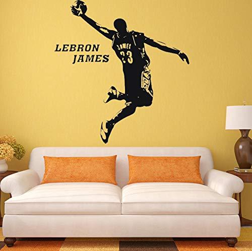 Abnehmbare Wandaufkleber Abziehbild Dekor Basketball LeBron James Room Decor 3D Poster Tapete 68 * 82 cm