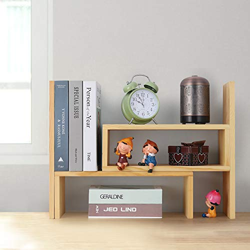 Neala Desktop Bookcases Countertop Bookshelves Book Rack Set of 2 Adjustable Wood Organizer Family and Office Application Receiving Books Decorating Space Making Gifts