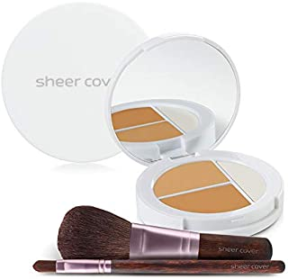 Sheer Cover Studio – Starter Face Kit – Perfect Shade Mineral Foundation – Conceal & Brighten Highlight Trio – with FREE Foundation Brush and Concealer Brush – Tan Shade – 4 Pieces
