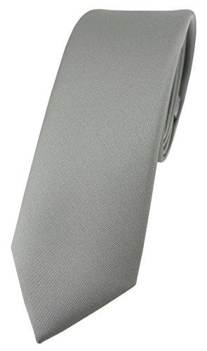 TigerTie Corbata de diseño estrecho en un solo color, ancho de corbata de 5,5cm, gris, Talla única