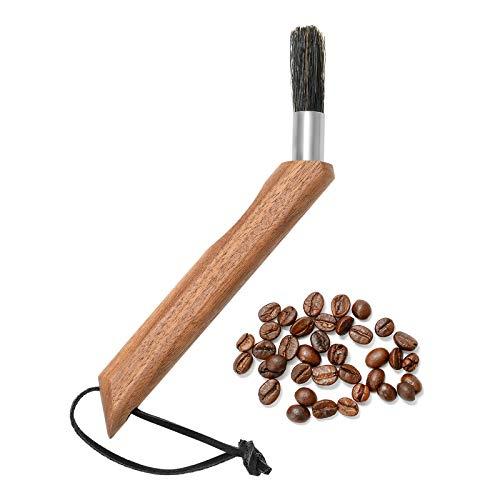 ZITFRI Kaffeepinsel Kaffeemühle Reinigungsbürste, Espresso Reinigungsbürste für die Kaffeemühle, Siebträger oder Espressomaschine - edles Design - Kaffee Bürste mit Holzgriff und festen Borsten