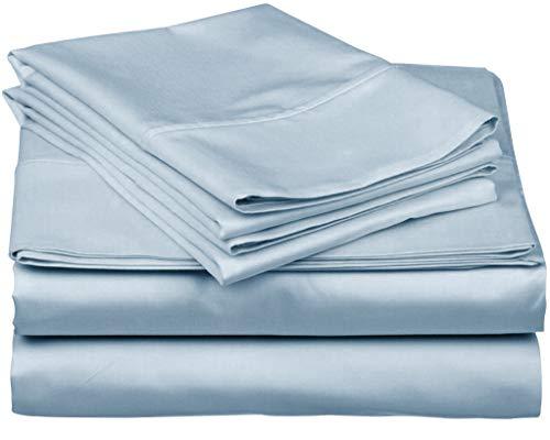 True Luxury 1000-Thread-Count 100% Egyptian Cotton Bed Sheets, 4-Pc Queen Light Blue Sheet Set, Single Ply Long-Staple Yarns, Sateen Weave, Fits Mattress Upto 18'' Deep Pocket