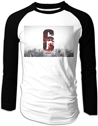 Rainbow Six Siege Casual Men's Baseball Raglan Long Sleeve T-Shirt P Round-Neck Tee Cotton Black