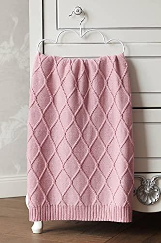 Eva&Naomi - Manta para bebé con rombos, 100% lana de merino, 75 x 100 cm, manta de punto, manta cálida (rosa)