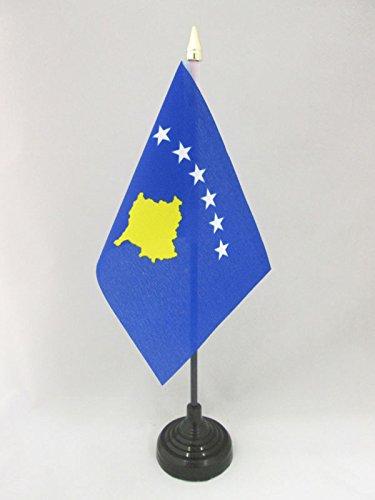 AZ FLAG Bandera de Mesa de Kosovo 15x10cm - BANDERINA de DESPACHO KOSOVARA 10 x 15 cm Punta Dorada