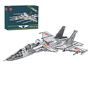 Plane Building Set, 1999Pieces Military Series J-15 Flying Shark Fighter Bricks Toy, Compatible with Lego