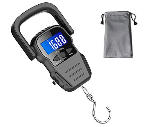 Digital Fish Scale, Luggage Scale, Weight Hanging Hook Scale,110lb/50KG-Backlit LCD Display,Waterproof Bag (Batteries Included)