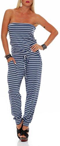 malito dames onesie gestreept | lange overall in Marine Look | Jumpsuit met riem - Playsuit - Romper 9647