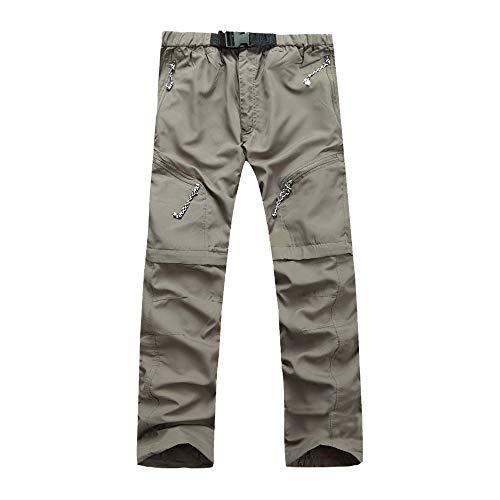 DAZISEN Herren Freizeithose - Sommer Camping Wandern Abnehmbare Schnell Trocknende Hose, XL/Khaki-Farbe