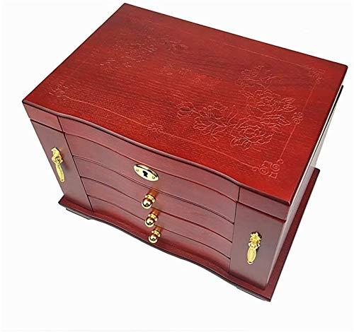 Leifeng Tower Multifunctional Caja de joyería de Madera de Lujo 4layer con Caja de Almacenamiento de joyería de Bloqueo 2 Lado y 2 Puertas Independientes Esposa
