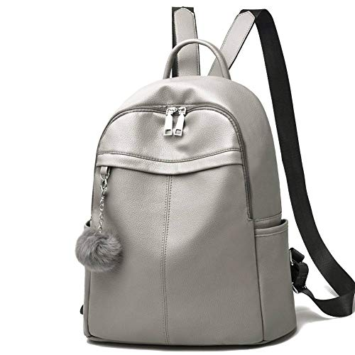I IHAYNER Backpack Womens Ladies Backpacks for Women Girls PU Anti-Theft Hairball School Grey
