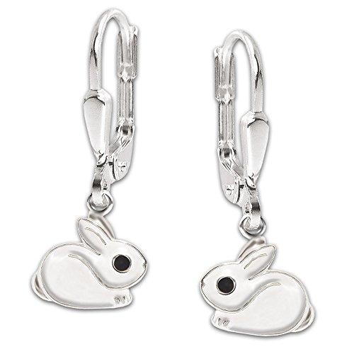Clever Schmuck Silberne Kinder Ohrringe Ohrhänger 23 mm kleiner Hase 7 mm hockend Fell weiß und Auge schwarz lackiert glänzend STERLING SILBER 925 für Mädchen