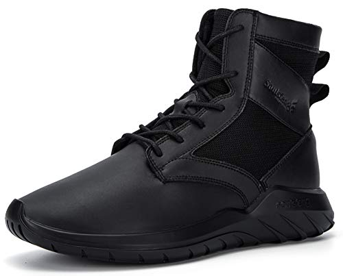 Soulsfeng High Top Sneakers for Men Lightweight Combat Boots Lace Up Leather Military Tactical Boots Outdoor Sports Shoes (Black, Numeric_9_Point_5)