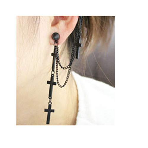 dontdo - Orecchini a Perno, Stile Gotico, Punk, a Forma di Croce, con Nappa, per Donne e Ragazze, Colore: Nero