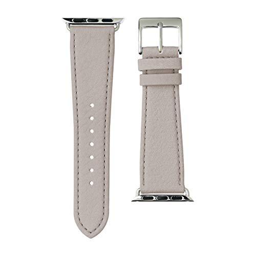 Roobaya Nappa, Armband für Apple Watch 42 mm, Nappaleder, hellgrau/Edelstahl