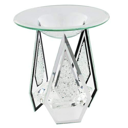 Klass Home Collection Diamond Shaped Glass Tart/Oil Burner Tea Light Candle Holder, Crystal Clear, H13xW12xL12cm