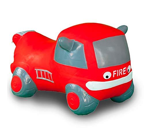 JAMARA 460456 - Hüpfauto Fire Truck mit Pumpe - BPA-Frei, bis 50 kg, fördert den Gleichgewichtssinn und die motorischen Fähigkeiten, robust und widerstandsfähig, pflegeleicht, rot