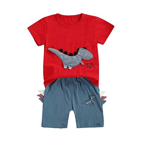 Carolilly Conjunto de 2 piezas de ropa de bebé casual de verano de manga corta con estampado de cómics + pantalones cortos Set de pijama de algodón Dinosaurio rojo 12-24 meses