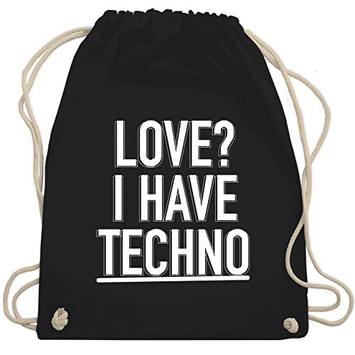 Festival Turnbeutel - Love? I have Techno - Unisize - Schwarz - i love techno bag - WM110 - Turnbeutel und Stoffbeutel aus Baumwolle