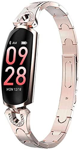 Reloj inteligente, monitor de actividad de pantalla táctil de color, soporte deportivo impermeable sueño podómetro pulsera inteligente-oro de lujo