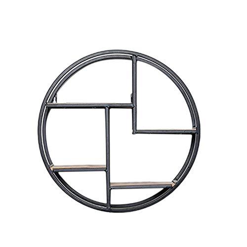 BEI&YANG Mensola Design L con 4 Ripiani L Mensola Industriale Tonda L Legno Saldato Metallo 37X37Cm