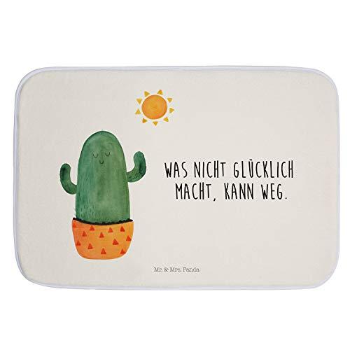 Mr. & Mrs. Panda Badteppich, Duschvorleger, Badvorleger Kaktus Sonnenanbeter mit Spruch - Farbe Weiß