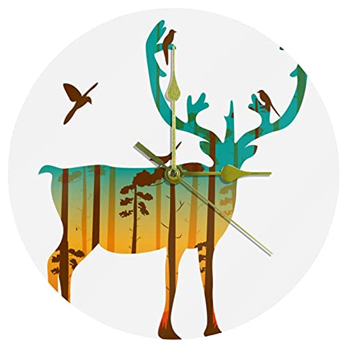 Yoliveya Reloj de pared redondo silencioso Caribou Navidad Reno Ciervo Alce Decorativo No Ticking Quiet Reloj para regalo en casa, oficina, cocina, guardería, sala de estar, dormitorio, 25 cm