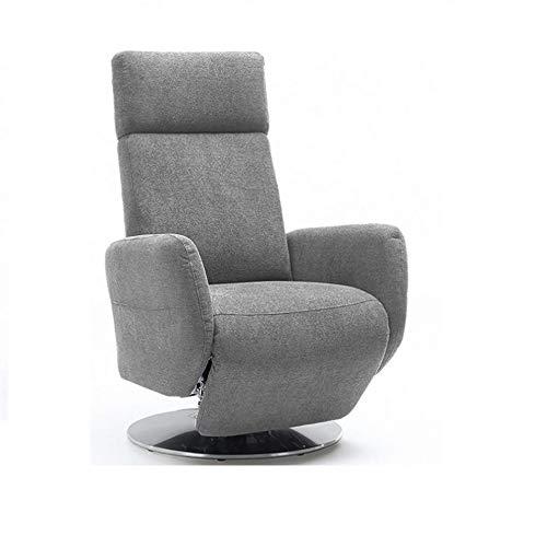 Cavadore TV-Sessel Cobra, Fernsehsessel mit 2 E-Motoren und Akku, Relaxfunktion, Liegefunktion, Ergonomie L, 71 x 112 x 82, Belastbar bis 130 kg, hellgrau