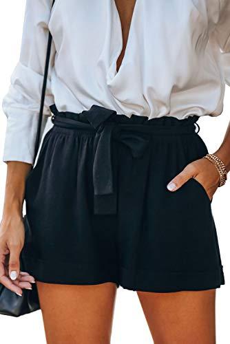 SESERAGI Short Airy Shorts Women's Bow Summer Cotton Linen Pants Short Paperbag High Waist Shorts Kawaii Clothing Black L