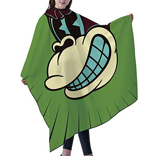 SUPNON Professional Salon Cape Polyester Cape Hair Cutting Cape, Water And Stain Resistant Apron, 55'x66', Vintage Cartoon Monkey Character With Angry Face 50S Toons Style, IS017214