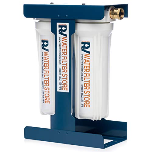 RV Water Filter Store Essential RV Water Filter System with Universal Blue Cage Mounting Bracket and Brass Hose Fittings