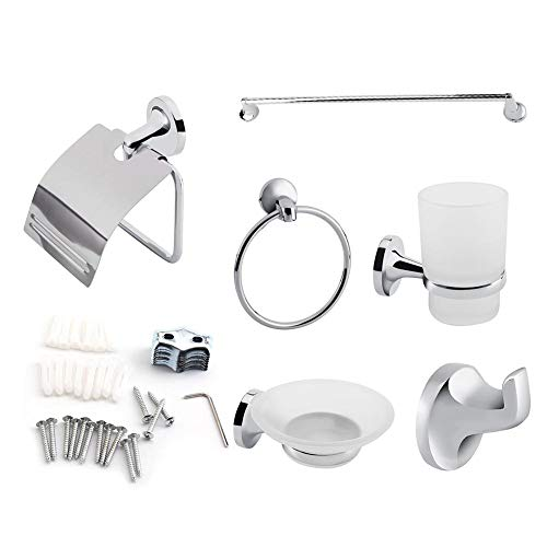 Zoternen - Juego de 6 Accesorios de baño de Zinc Cromado, con toallero, Anillo para Toalla, Porta Papel higiénico, jabonera, Gancho y Vaso