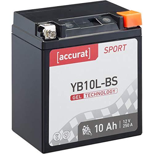Accurat MotorradbatterieSport YB10L-BS 10 Ah 250 A 12V Gel Technologie Starterbatterie in Erstausrüsterqualität zyklenfest sicher lagerfähig wartungsfrei