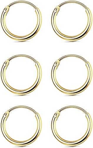 Milacolato - Pendientes de cartílago de plata de ley 925, pequeños pendientes de aro sin fin, para mujeres y hombres, 3 pares de pendientes hipoalergénicos de trago, anillos para nariz y labios