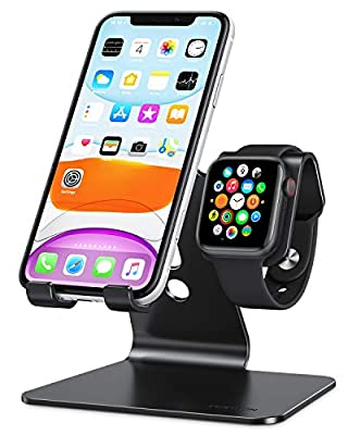 Apple Watch Stand, OMOTON 2 in 1 Universal Desktop Stand Holder for iPhone and Apple Watch (Both 38mm/40mm/42mm/44mm)