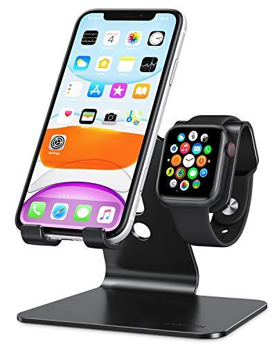 OMOTON 2 in 1 Supporto per Apple Watch, Stand Tavolo per iPhone e iWatch, Dock per Apple Watch SE/6/5/4/3/2/1(38 mm/40 mm/42 mm/44 mm), Porta Compatibile con iPhone 12, SE 2020, 11 PRO, XS Max, Nero