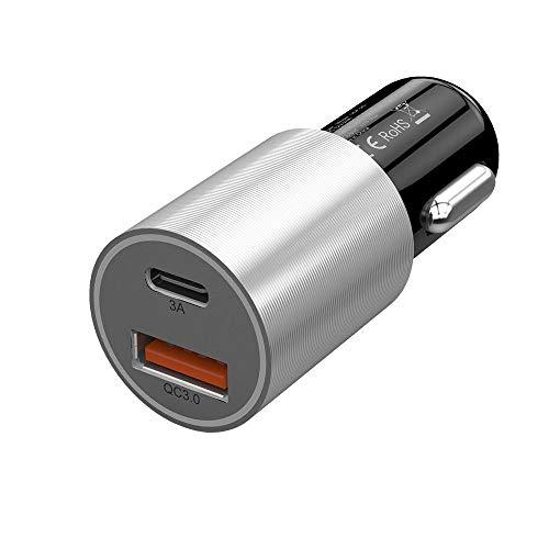 Cargador de coche 2 PORT USB Cargador de coche Qualcomm Quick 3.0 QC 2.0 Compatible y tipo C 3A Carga rápida J Adaptador de cargador de coche